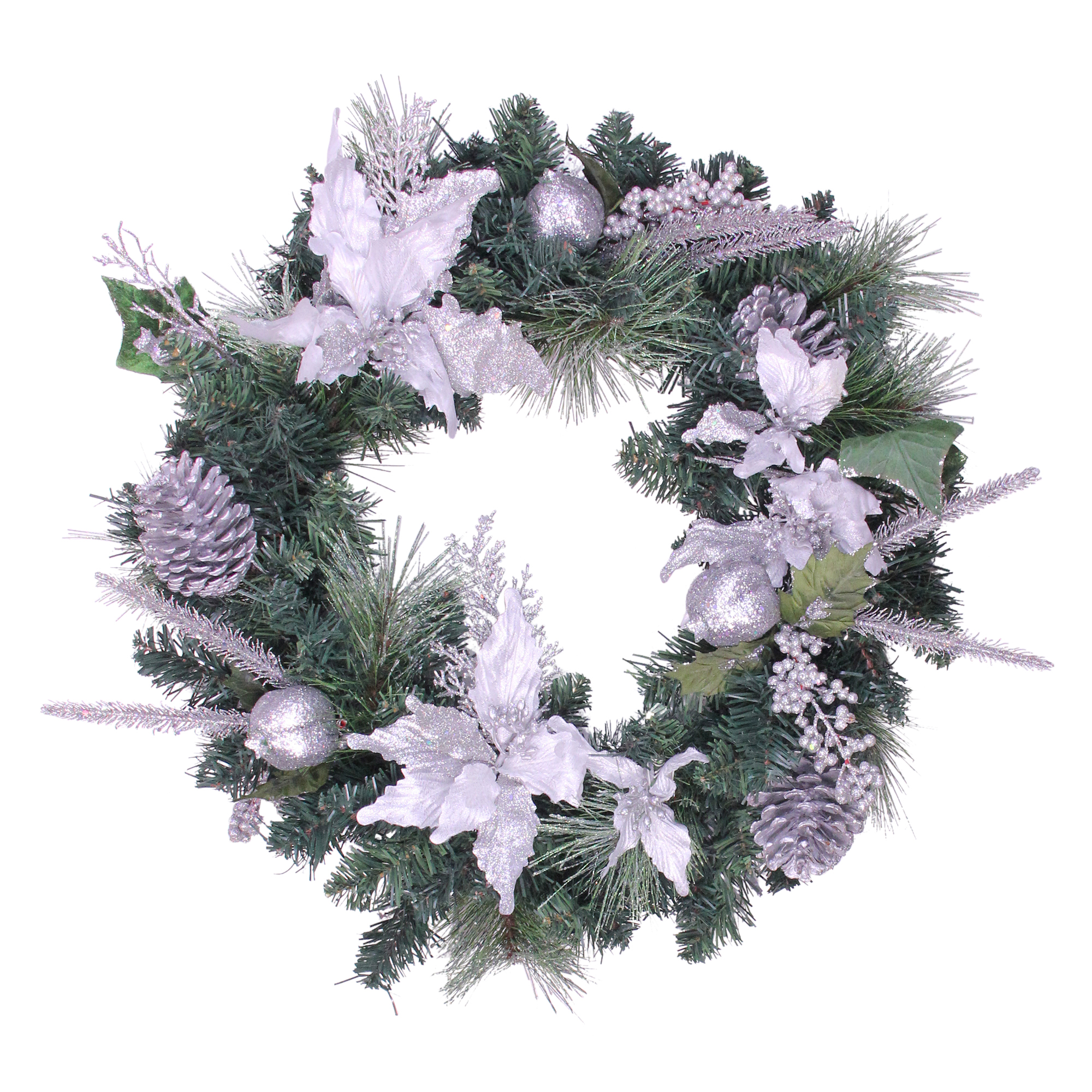 """Northlight 24"""" Unlit Silver Poinsettia and Pinecone Artificial Christmas Wreath"""
