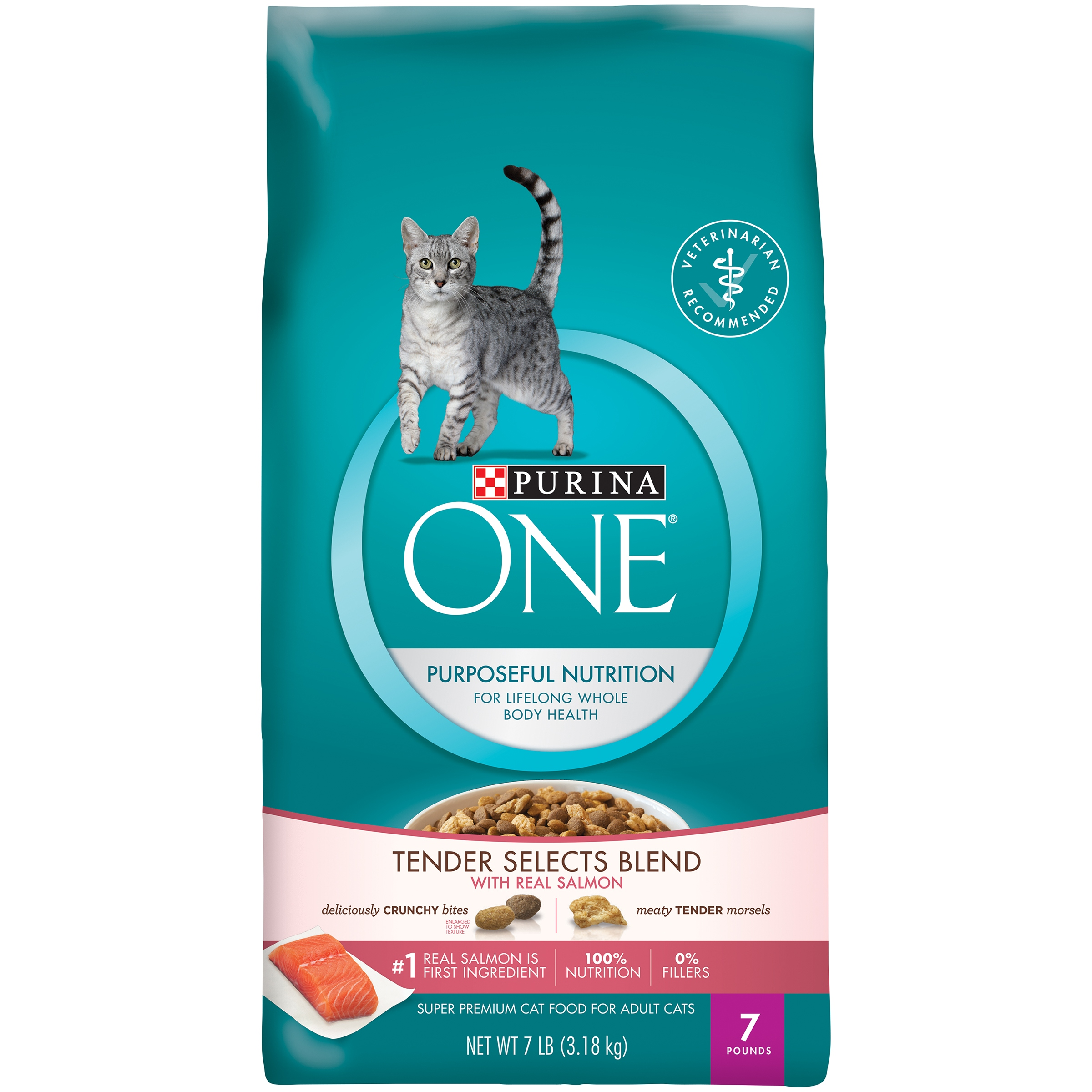 Purina ONE Tender Selects Blend with Real Salmon Cat Food 7 lb. Bag