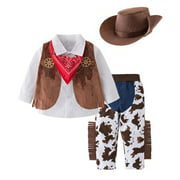 Bilo Kid Boys Halloween Cowboy Costume 5pcs Set Cosplay Event Dress Up Parties Stage Performance Outfits (100/4-5 Years)