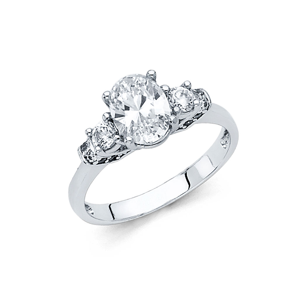 Paradise 14K Solid White Gold 1.50 cttw Polished Oval Cub...