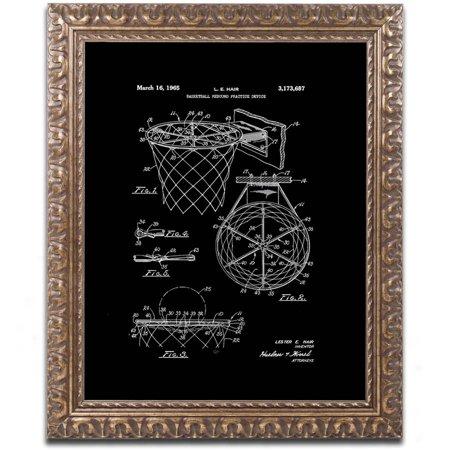 Trademark Fine Art  Basketball Hoop Patent 1965 Black  Canvas Art By Claire Doherty  Gold Ornate Frame