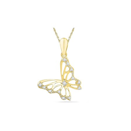 Diamond Butterfly Pendant Necklace 1/12 Carat (ctw)in 10K Yellow Gold with Chain