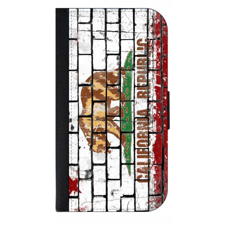 Californian - California Flag in Brick Print - Wallet Style Cell Phone Case with 2 Card Slots and a Flip Cover Compatible with the Apple iPhone 4 and 4s -