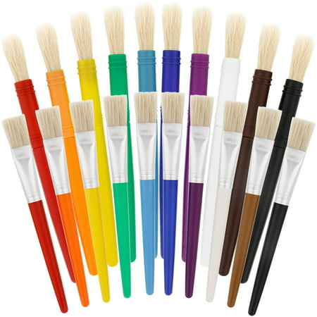 Black Bristle Paint Brush (US Art Supply 20 Piece Large Round and Large Flat Hog Bristle Children's Tempera Paint)