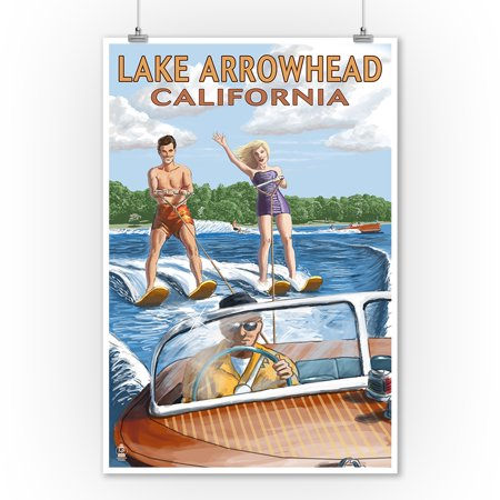 Lake Arrowhead, California - Water Skiing Scene - Lantern Press Artwork (9x12 Art Print, Wall Decor Travel (Best Lakes In California For Jet Skiing)