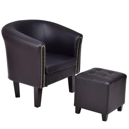 Gymax Black  PU Leather Accent Chair Club Arm Chair Tub w/Ottoman ()