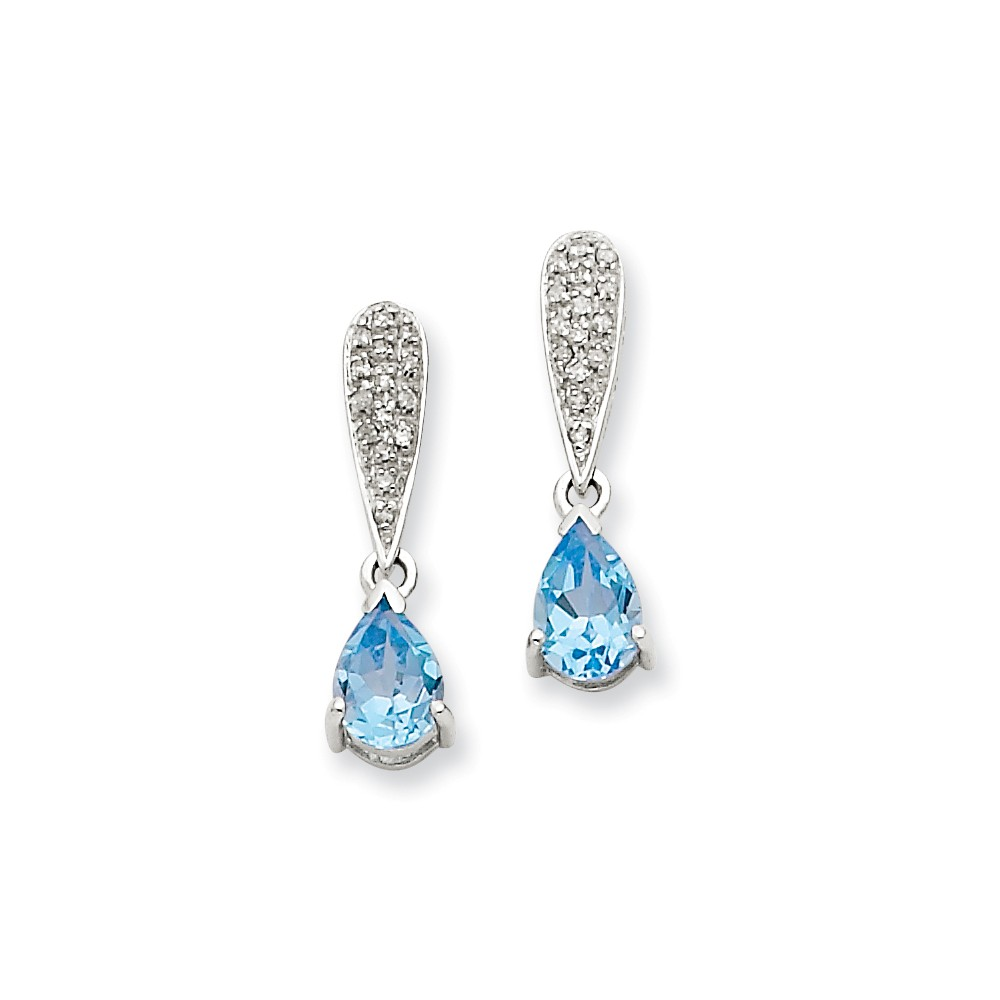 14k White Gold 0.8IN Long Blue Topaz & Diamond Dangle Post Earrings