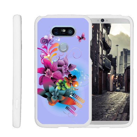 LG G5 H850, H830, H820, LS992, G5 SE, H845, [SNAP SHELL][White] 2 Piece Snap On Rubberized Hard White Plastic Cell Phone Case with Exclusive Art -  Purple Flower Butterfly ()
