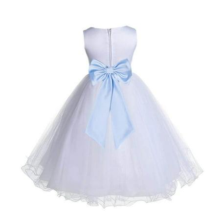 Ekidsbridal Satin White Ice Blue Tulle Rattail Christmas Bridesmaid Recital  Easter Holiday Wedding Pageant Communion Princess Birthday Clothing Baptism  829T ... 8c3bd1f1b096
