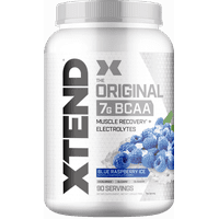 Xtend Original BCAA Powder, Branched Chain Amino Acids, Sugar Free Post Workout Muscle Recovery Drink with Amino Acids, 7g BCAAs for Men & Women, Blue Raspberry Ice, 90 Servings