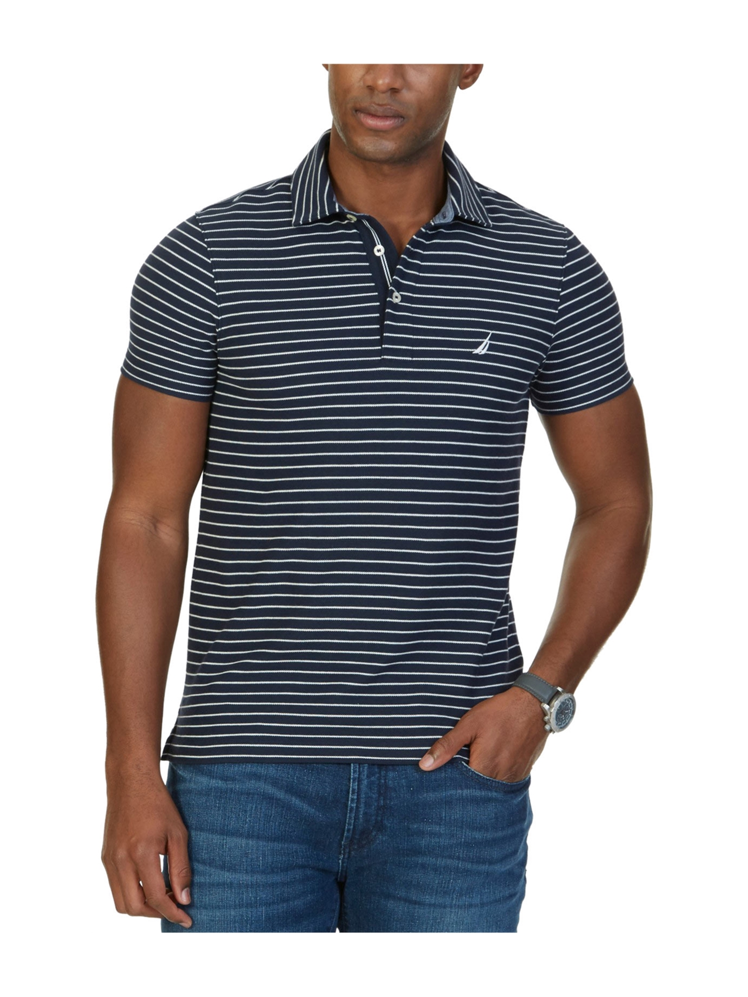 Nautica Mens Performance Rugby Polo Shirt Navy S