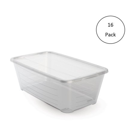 Life Story 6Q Rectangular Clear Plastic Protective Storage Shoe Box (16 Pack)