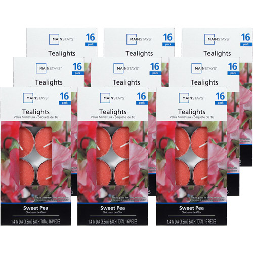 Mainstays 144-Piece Teallights Candle Sweet Pea, Pink