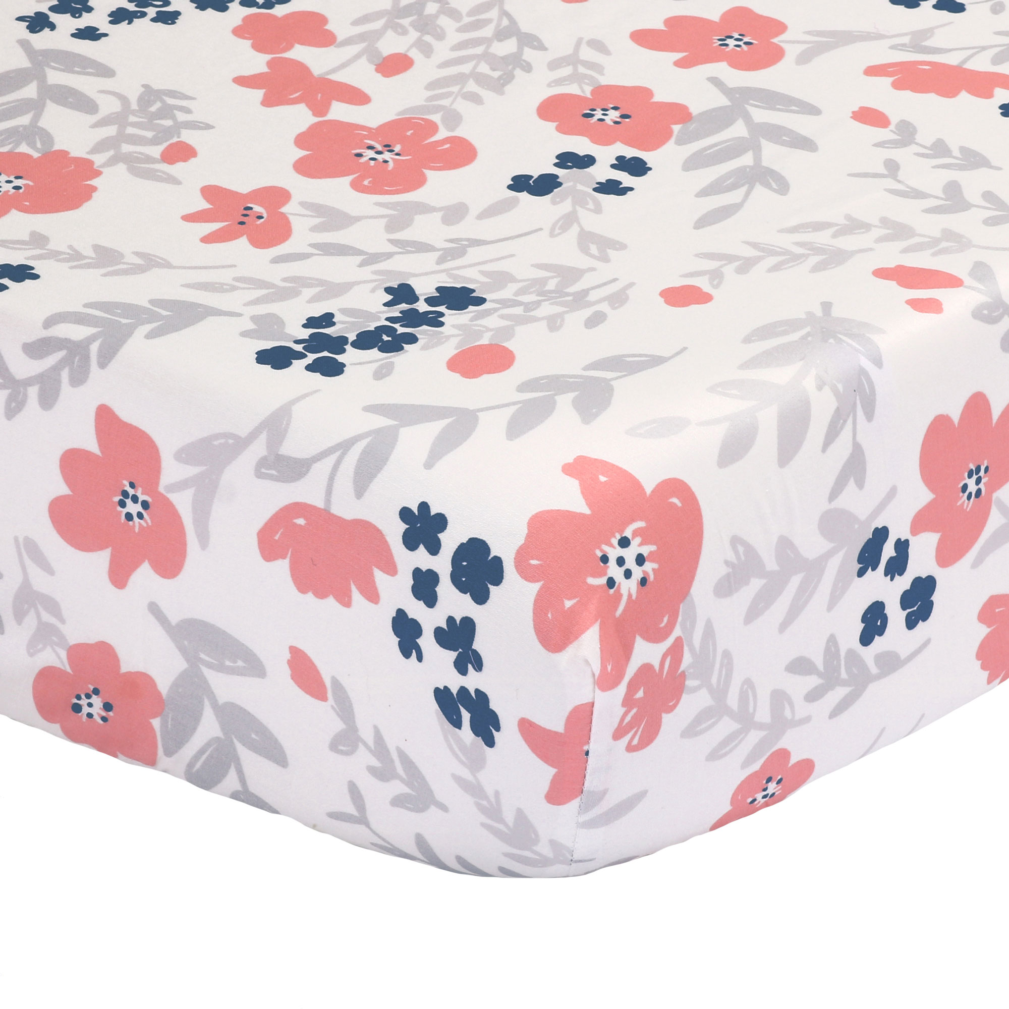 The Peanut Shell Baby Crib Fitted Sheet - Coral Pink, Navy Blue and Grey Floral Print - 100% Cotton Sateen, Fits Standard 52 by 28 Inch Mattress