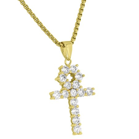 Ankh Cross Pendant Designer Solitaire Simulated Diamonds Free Stainless Steel 24  Necklace 18K Gold Tone Brand New