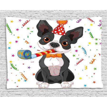 Birthday Decorations For Kids Tapestry Black And White Boston