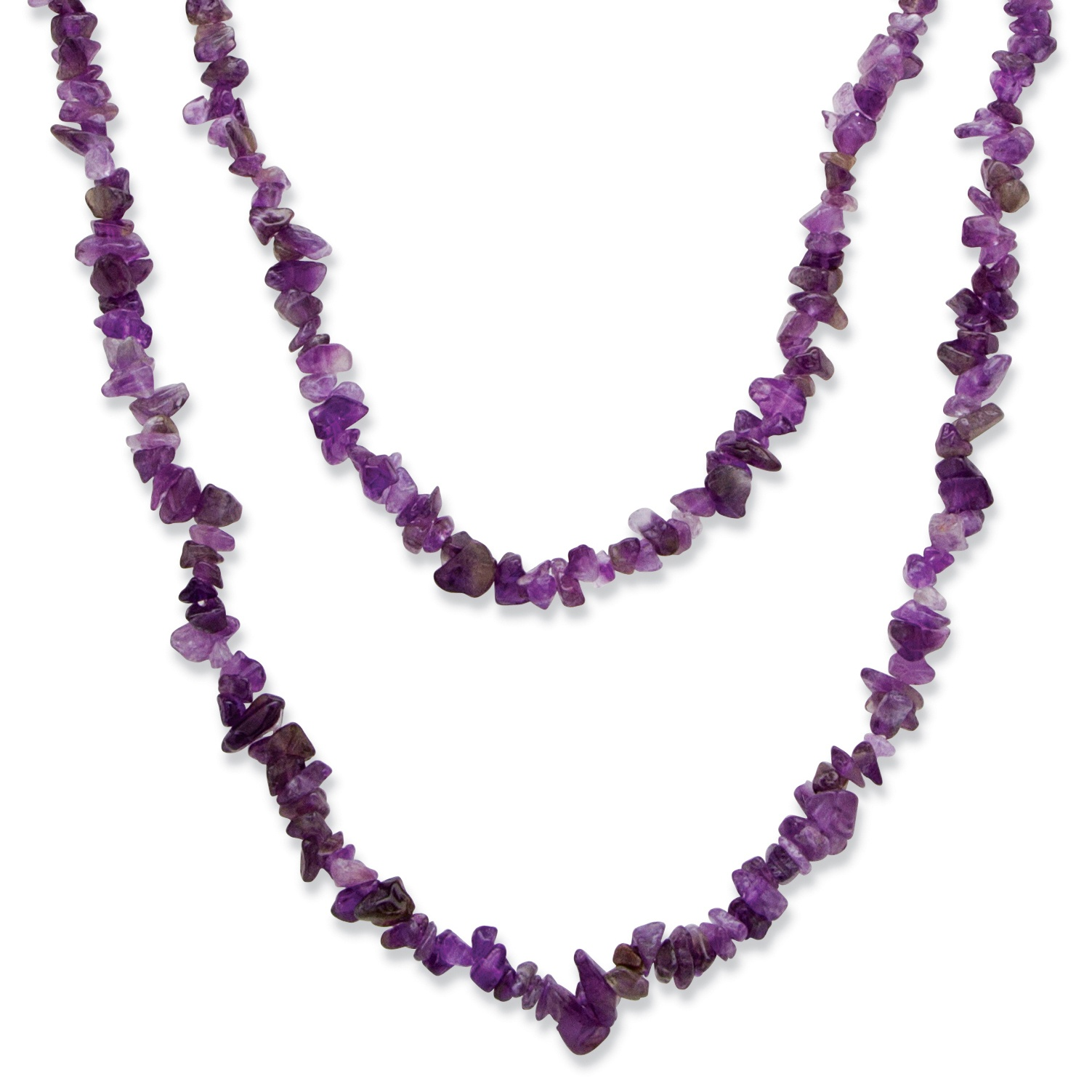 Nugget-Cut Genuine Purple Amethyst Necklace 54""