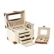 Bey-Berk International BB627IVR Ivory Leather 4 Level Multi Compartment Jewelry Box