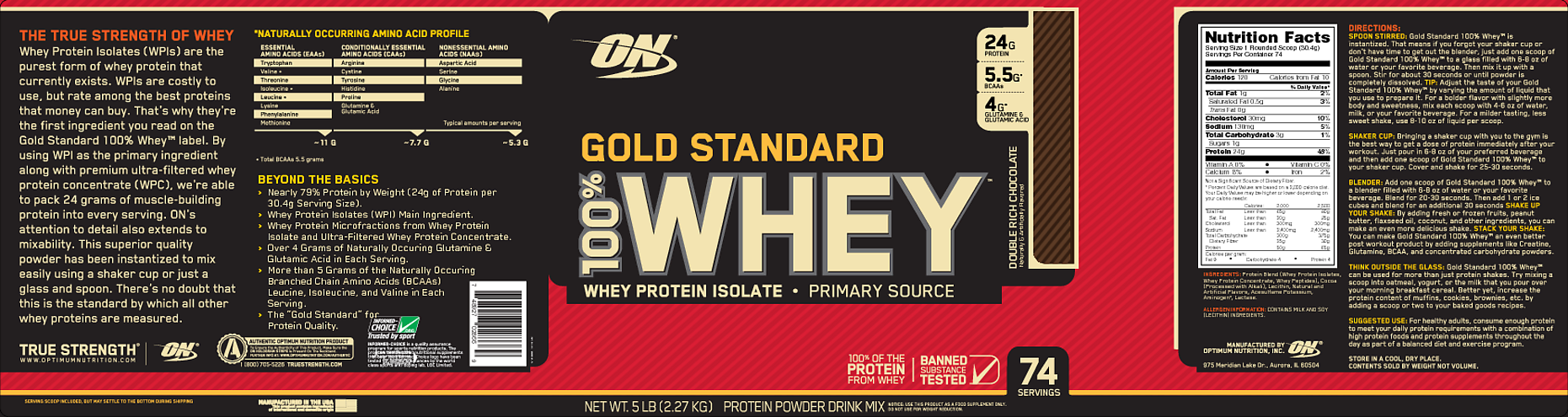 Optimum Nutrition Gold Standard 100% Whey Protein Powder, Double Rich Chocolate, 24g Protein, 5 Lb - Walmart.com