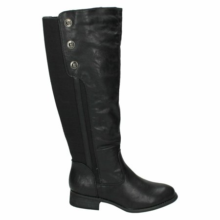Spot On Womens/Ladies Mid Heel High Leg Boots With Button Detail - image 5 of 6