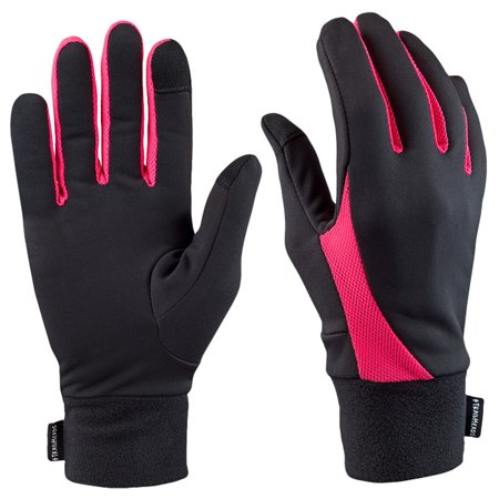 TrailHeads Elements Touchscreen Running Gloves - black / neon pink