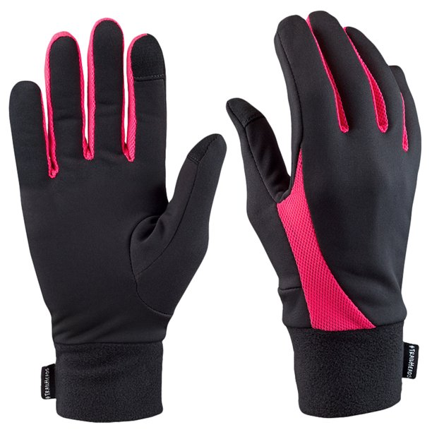 TrailHeads Elements Touchscreen Running Gloves - black / neon pink