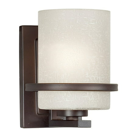 Forte Lighting 2404-01 1 Light Wall Sconce with White Linen Glass