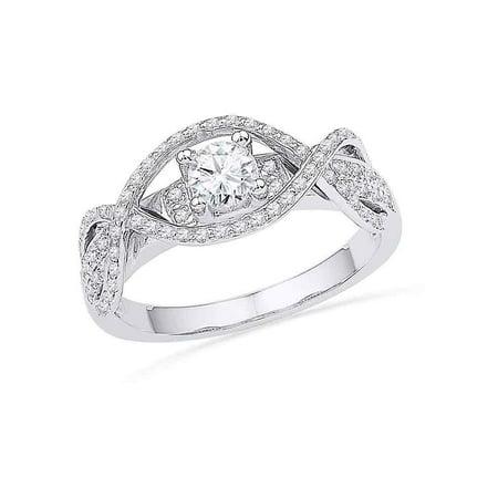 14k White Gold Womens Round Diamond Woven Bridal Wedding Engagment Anniversary Ring 1/2 Cttw