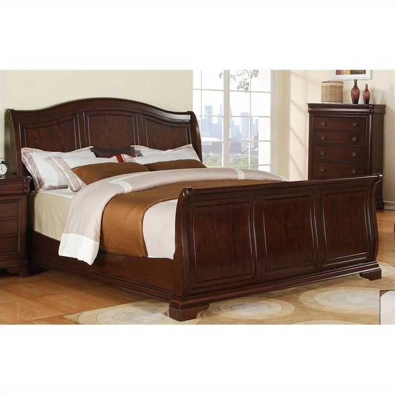 Picket House Furnishings Cameron Sleigh Bed in Cherry-King