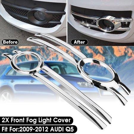 2Pcs Chrome Front Fog Bumper Grill Light Cover Trim Bezel mouldingstrim Frame Garnish For Q5 - Chrome Garnish