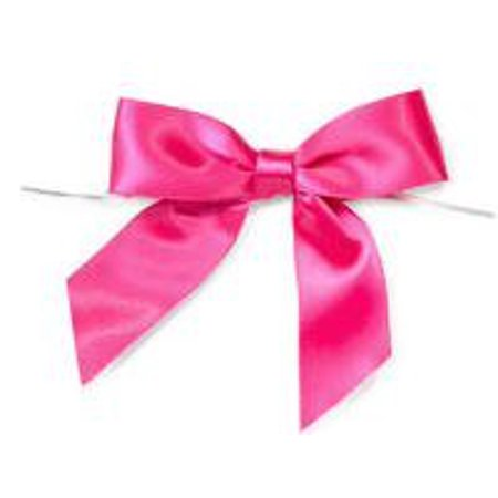Hot Pink Satin Twist Tie Food & Party Favor Treat Bags Packaging Bows - Bow Tie Favors