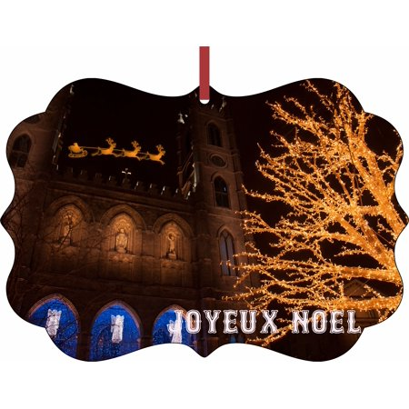 Santa and Sleigh Riding Over The Notre Dame Cathedral on Christmas Eve - Rosie Parker Inc. TM Double-Sided Flat Benelux-Shaped Holiday Tree Ornament Made in the USA - Halloween Tree Notre Dame
