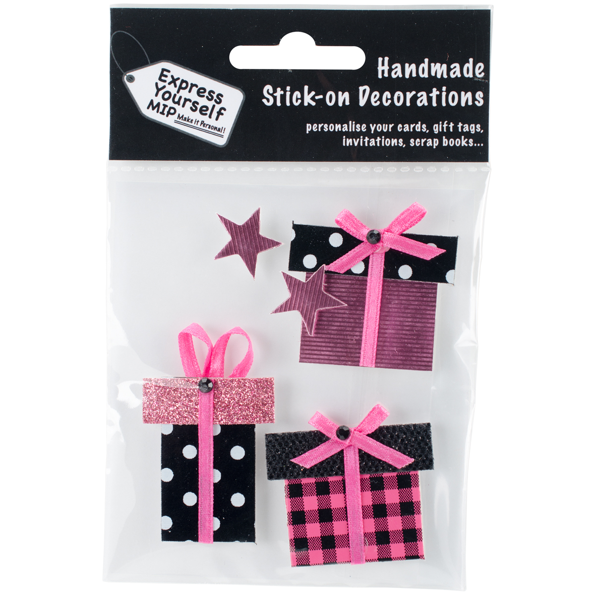 Express Yourself MIP 3D Stickers-Pink Gift Boxes & Stars