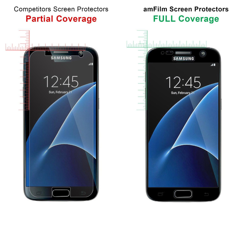 more photos aadca fa6e9 Samsung Galaxy S7 amFilm Full Cover Tempered Glass Screen Protector (Black)