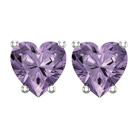 - 10K White Gold Stud Earring with 5mm Heart Shaped Amethyst Gemstone