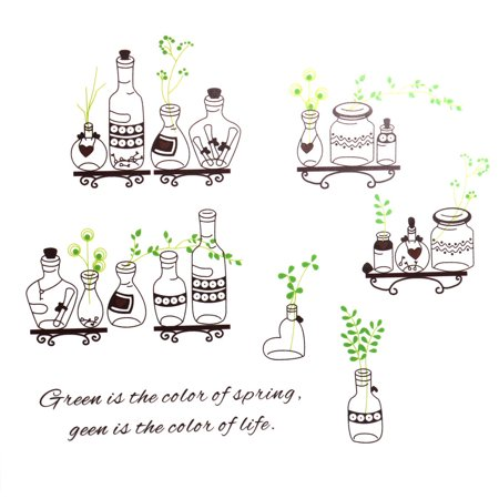 Restaurant Bottle Plant Print Removable Wall Sticker Brown Green 70 x 50cm - image 4 of 4