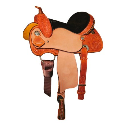 Circle Y 3002 Little Cowpoke Youth Barrel Racer Saddle 13 inch, Reg Tree,  Lite Oil, Pink Suede