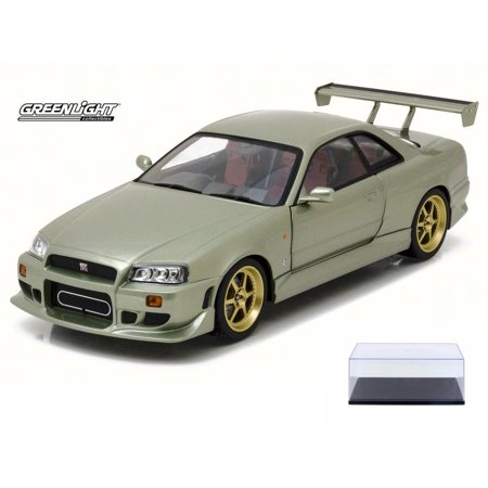 Diecast Car & Display Case Package - 1999 Artisan Nissan Skyline GT-R R34, Millennium Jade - Greenlight 19033 - 1/18 Scale Diecast Model Toy Car w/Display