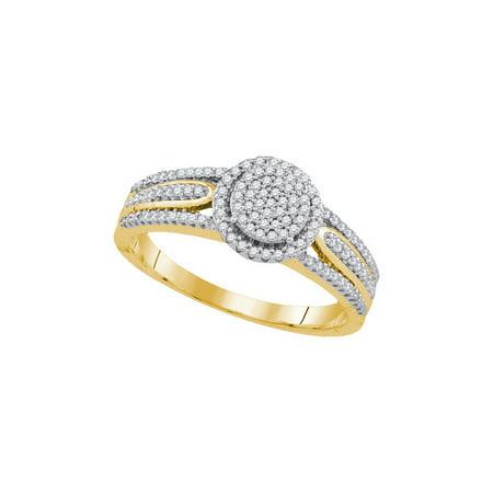 10K Yellow Gold 0 25Ctw Shiny Diamond Fashion Center Round Micro Pave Ring
