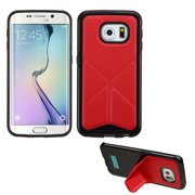for galaxy s6 edge red backside black candy frame case +folding magnetic stand