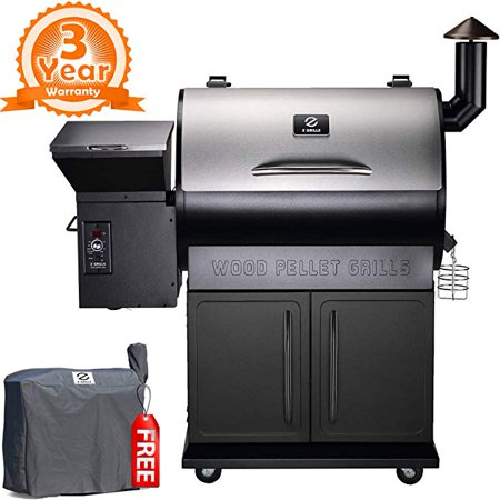 Z GRILLS New ZPG-700E 2019 Upgrade Model Wood Pellet Smoker, 8 in 1 BBQ Grill Auto Temperature Control, 700 sq inch Cooking Area, Silver/Black Cover (Best Grill On The Market 2019)