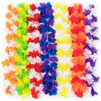 Brybelly MLEI-001 Colorful Leis Flower Necklaces, Multicolor - Pack of 12