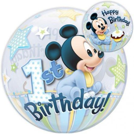 Mickey Mouse 1st Birthday Bubbles Stretchy Plastic Balloon 22