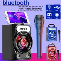 4-inch Portable bluetooth Party Karaoke Speaker+1 Mic, Wireless Mini LED   Lighting Loudspeaker Outdoor FM USB AUX Voice Box