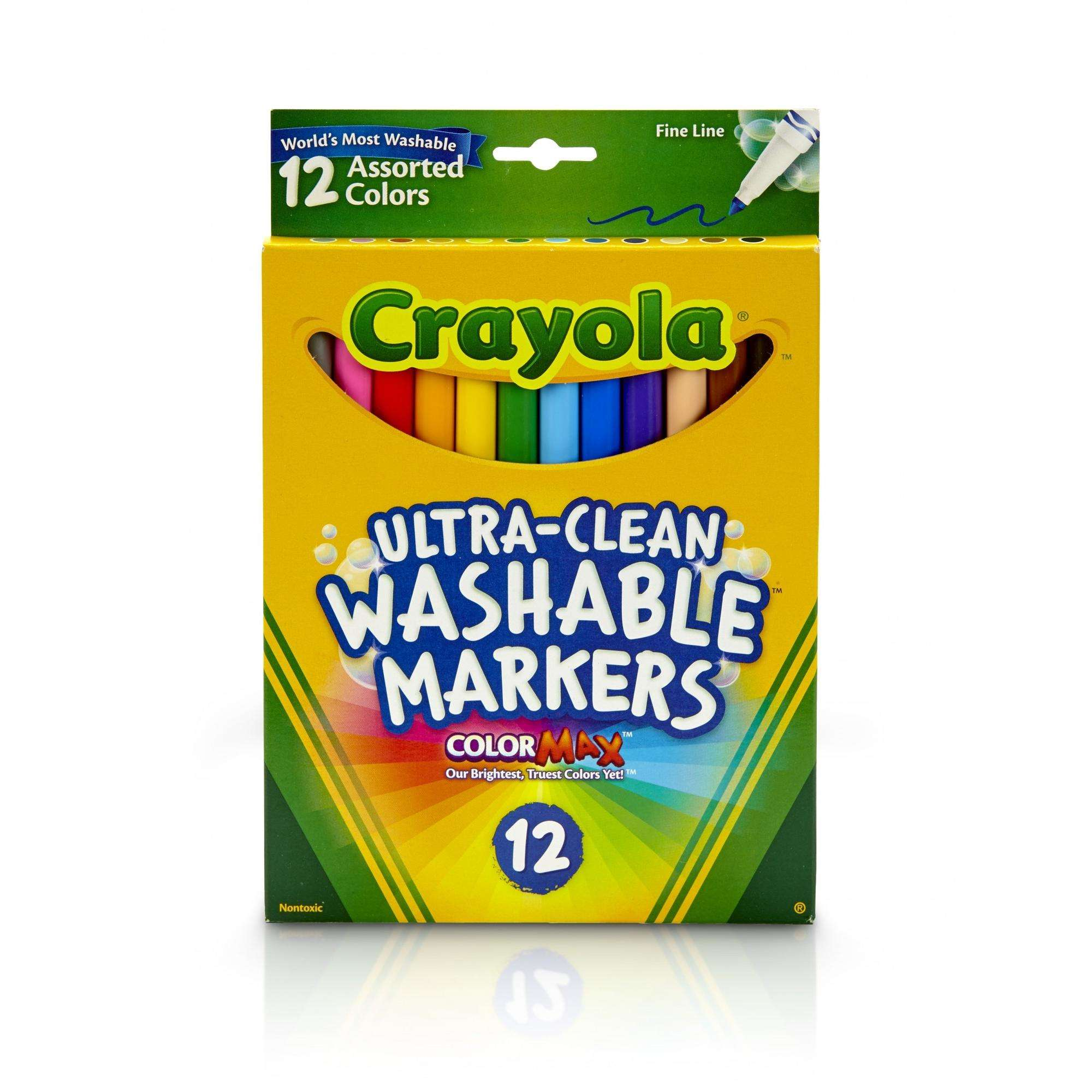 Crayola Ultra Clean Washable Markers, Fine Line, 12 Count