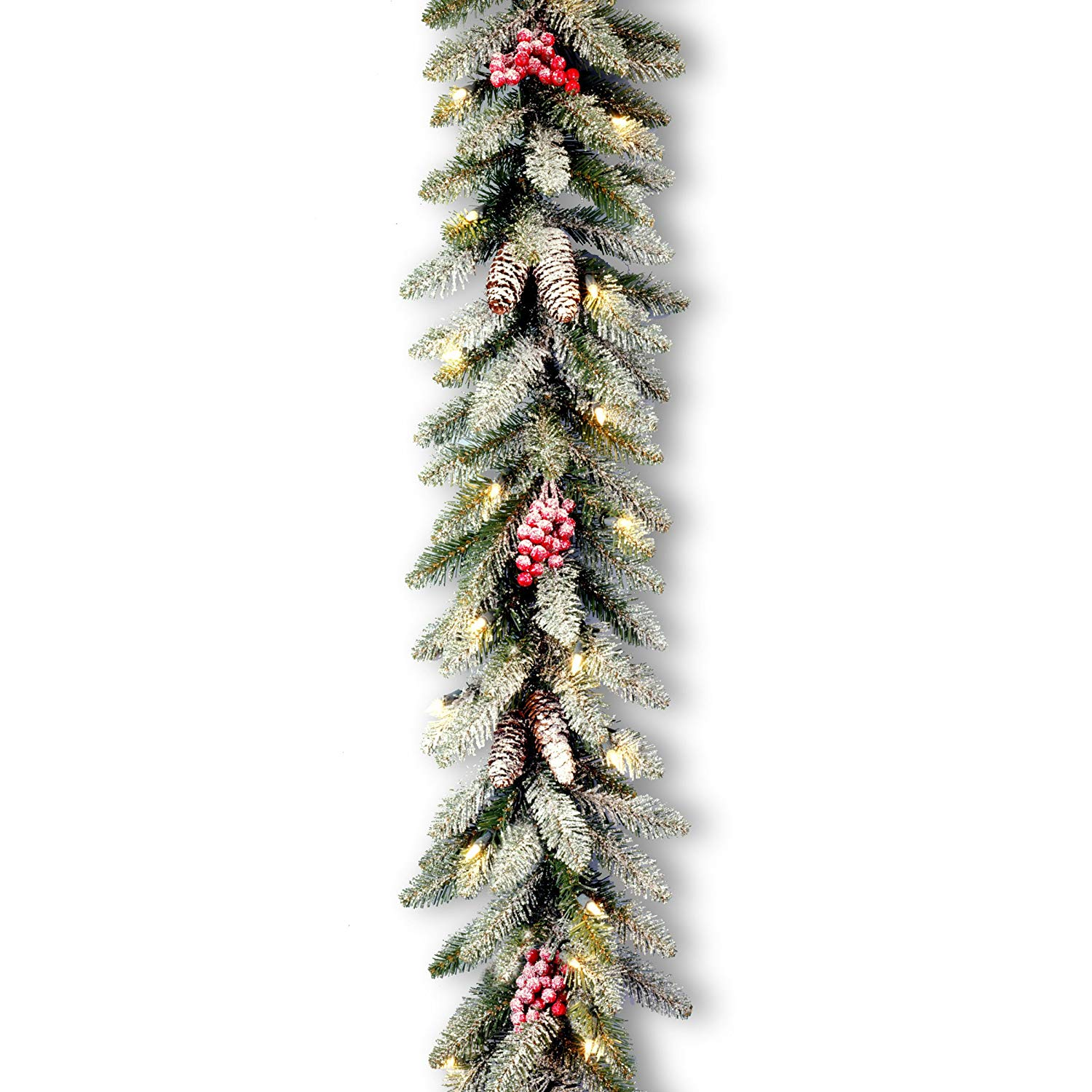 "9' x 10"" Pre-Lit Dunhill Fir Artificial Christmas Garland with Red Berries – Clear Lights"