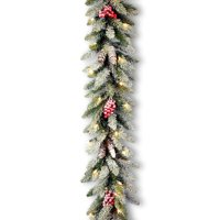 """9' x 10"""" Pre-Lit Dunhill Fir Artificial Christmas Garland with Red Berries – Clear Lights"""