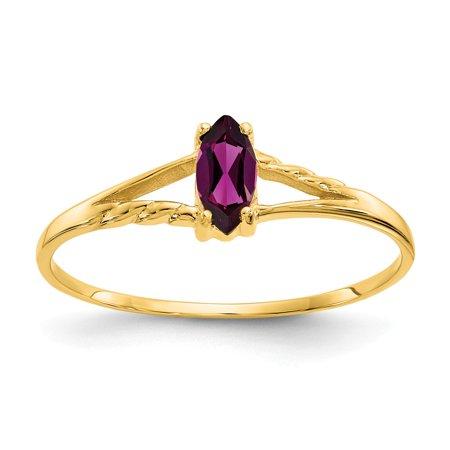 Roy Rose Jewelry 10K Yellow Gold Genuine Rhodolite Garnet Birthstone Ring - Size: 6