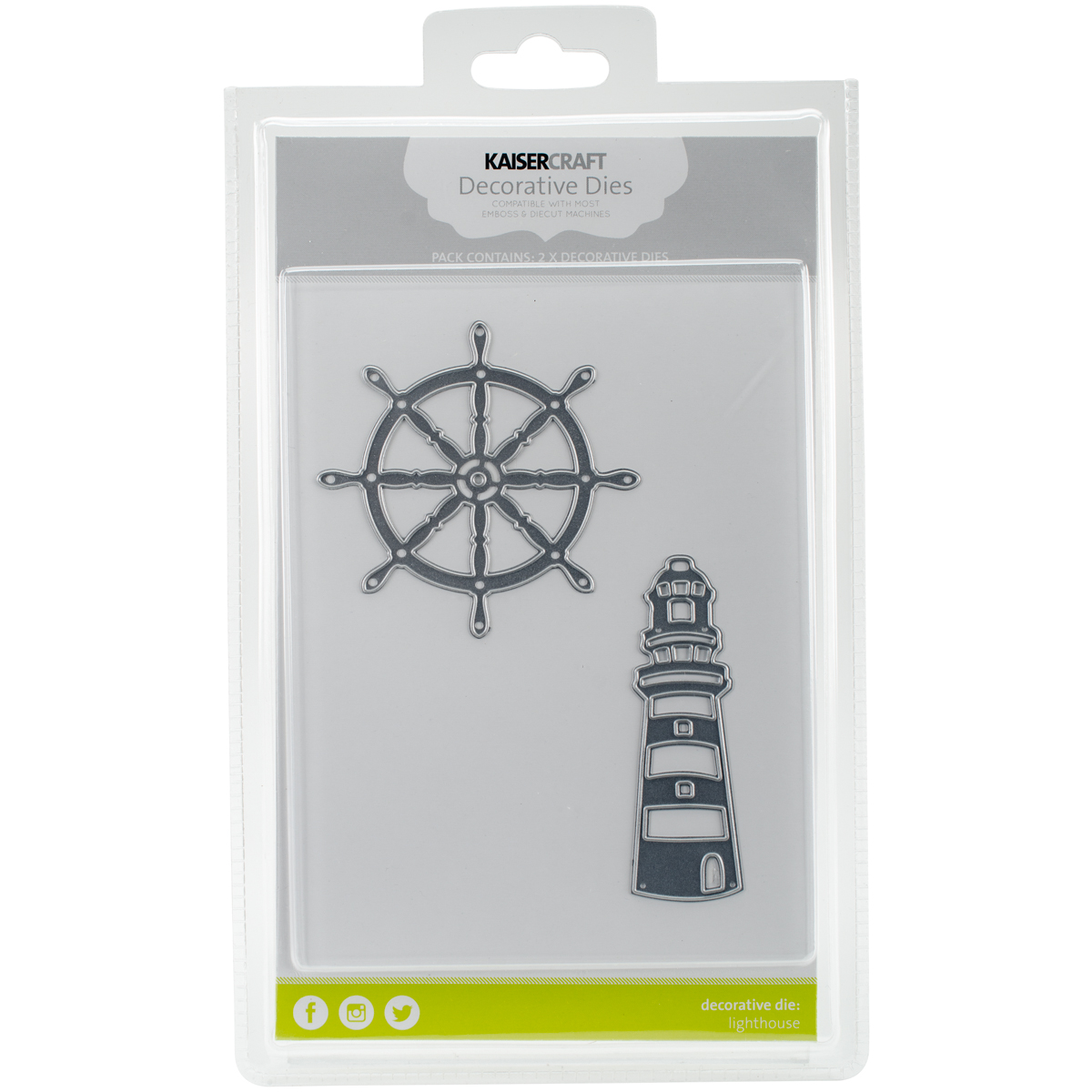 "Kaisercraft Dies, Lighthouse & Ships Wheel, 3.5"" x 1"""