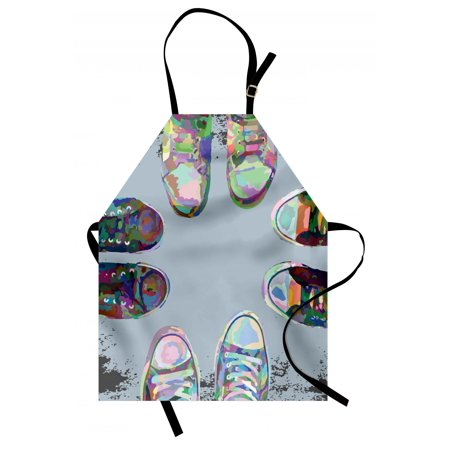 Friends Apron - Modern Apron Teen Rubber Rebel Rocker Shoes in Street Squad Friends Gang Abstract Image Print, Unisex Kitchen Bib Apron with Adjustable Neck for Cooking Baking Gardening, Multicolor, by Ambesonne